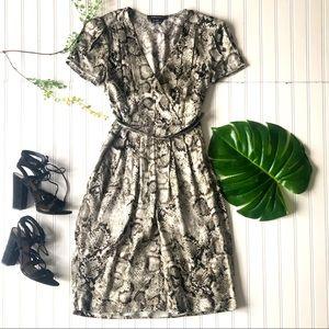 BCBG MaxAzria snakeskin print silk dress grey